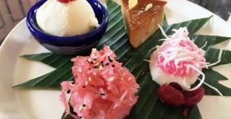 1.ข้าวเหนียวแก้ว หน้ากะฉีกมะพร้าวอ่อน ทับทิมมณี คัสตาร์ดอินทผาลัม Pink Sticky Rice, Ruby Sago, Date Flan