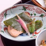 Yamazato_Spring Lunch Gozen 2017_Salmon with saikyo miso wrapped with sakura leaves
