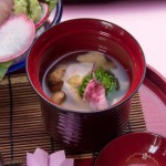 Yamazato_Spring Lunch Gozen 2017_Shrimp dumpling with rape seed and sakura blossom soup